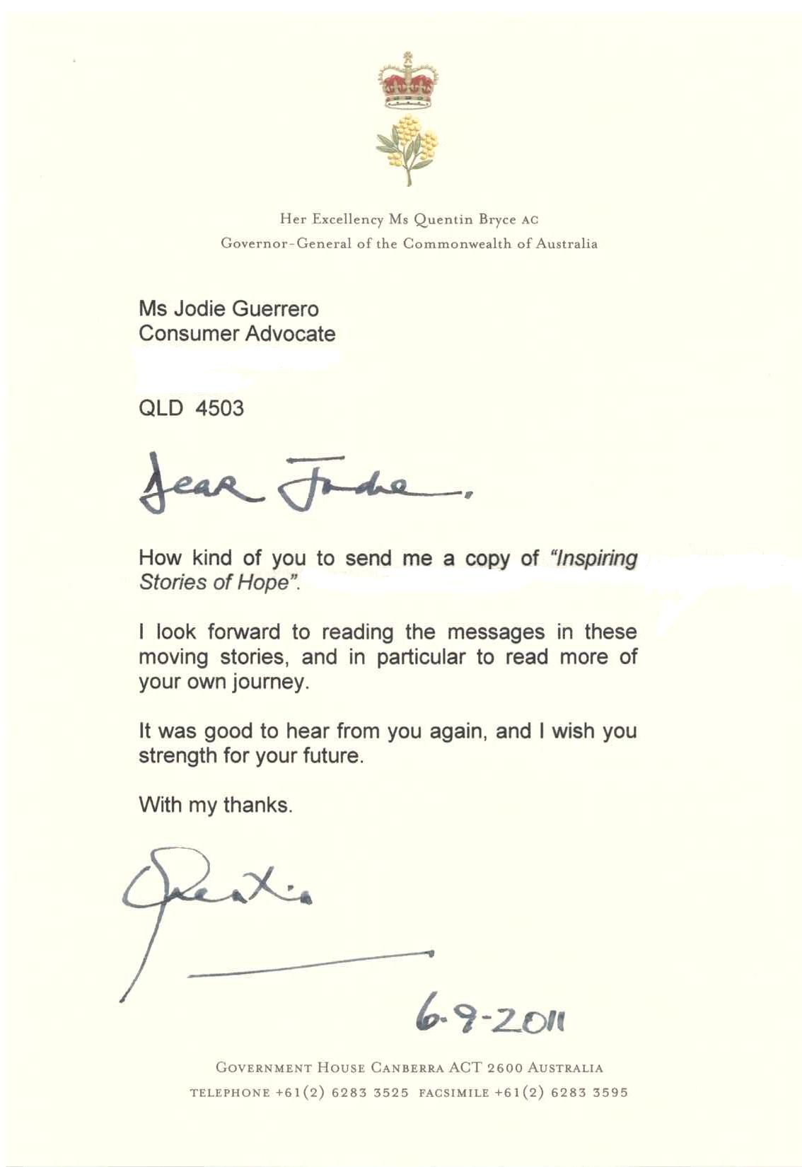 Letter From The Governorgeneral Of Themonwealth Of Australia (02)