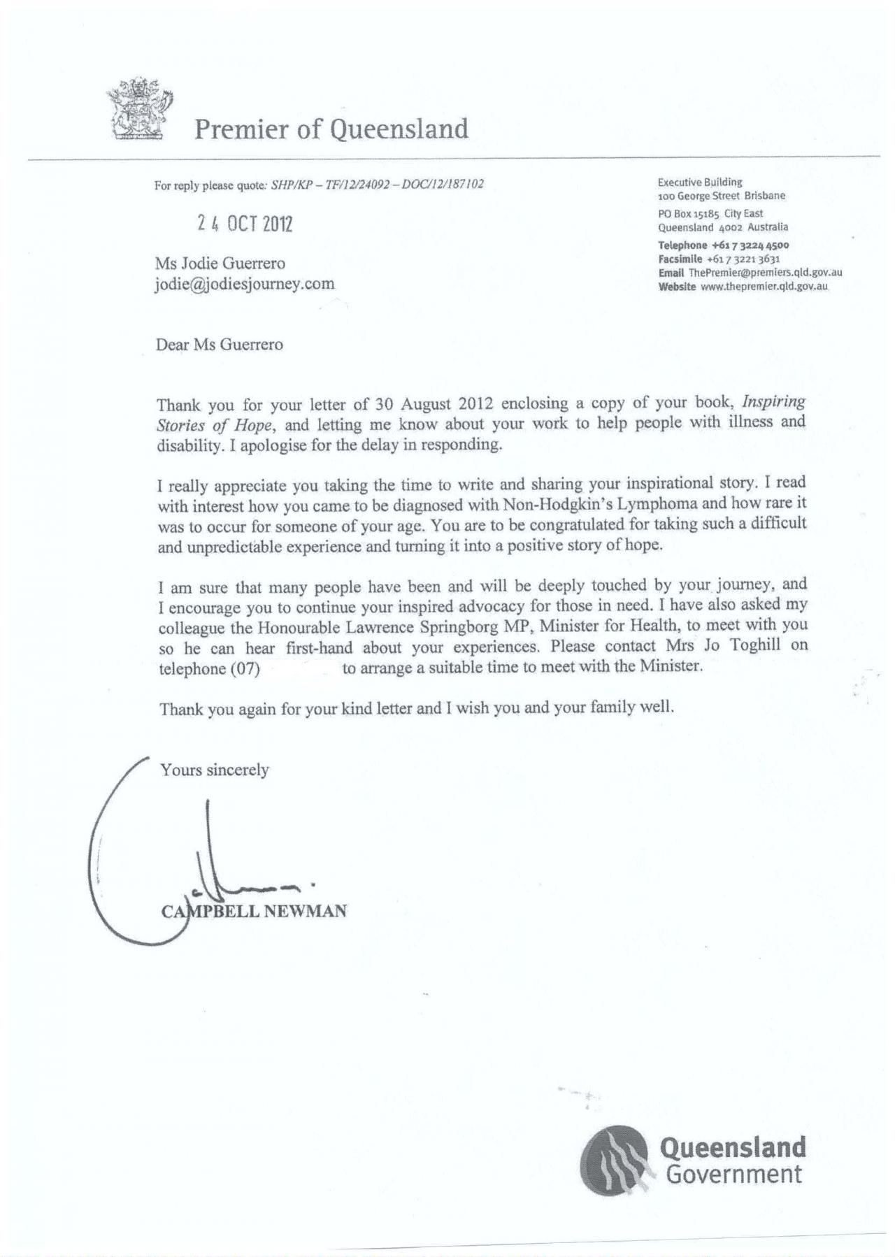 Letter From The Premier Of Queensland To Jodie